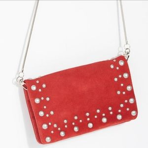 Free People Kingston Red Suede Crossbody Bag NWT